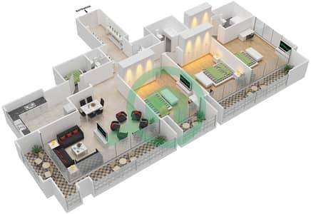 المخططات الطابقية لتصميم النموذج 1,8 شقة 3 غرف نوم - برج الفهد 1