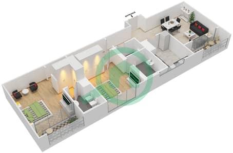 المخططات الطابقية لتصميم النموذج 5 شقة 2 غرفة نوم - برج الفهد 1