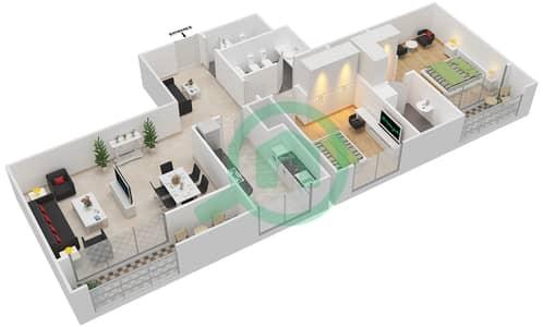 المخططات الطابقية لتصميم النموذج 4 شقة 2 غرفة نوم - برج الفهد 1