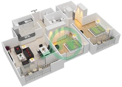 المخططات الطابقية لتصميم النموذج 2,3,6,7 شقة 2 غرفة نوم - برج الفهد 1
