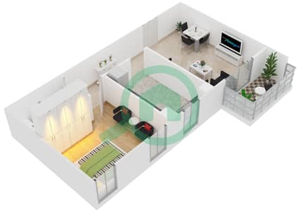 Al Manara Tower - 1 Bedroom Apartment Unit 10 FLOOR 2-26 Floor plan