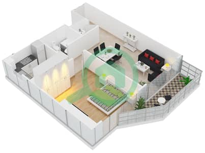 Al Manara Tower - 1 Bedroom Apartment Unit 9 FLOOR 2-26 Floor plan