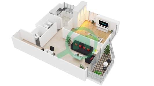 Al Manara Tower - 1 Bedroom Apartment Unit 2 FLOOR 2-26 Floor plan