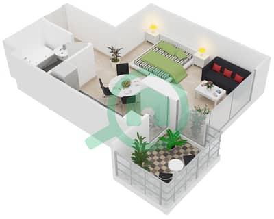 Al Manara Tower - Studio Apartment Unit 1 FLOOR 2-26 Floor plan
