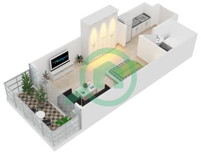 Al Manara Tower - Studio Apartment Unit 6 FLOOR 1 Floor plan