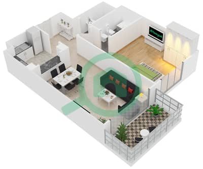 Al Manara Tower - 1 Bedroom Apartment Unit 6 FLOOR 2-26 Floor plan