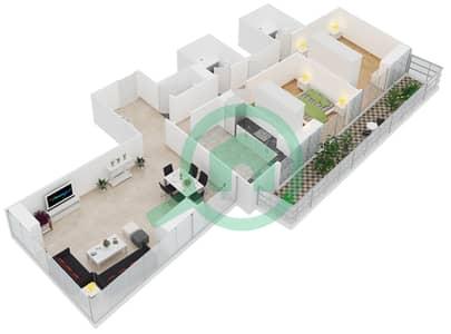 Al Manara Tower - 2 Bedroom Apartment Unit 4 FLOOR 1 Floor plan