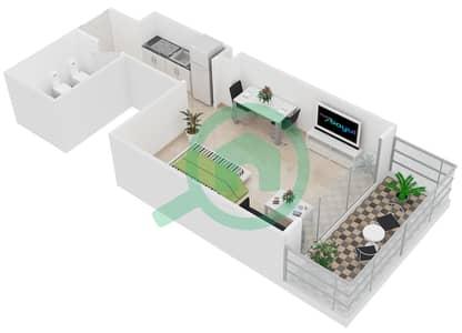 Al Manara Tower - Studio Apartment Unit 4 FLOOR 2-26 Floor plan