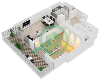 Al Manara Tower - 1 Bedroom Apartment Unit 5 FLOOR 1 Floor plan
