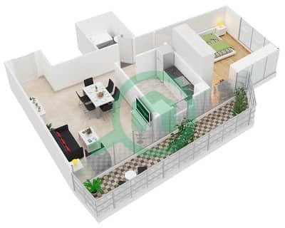 Al Manara Tower - 1 Bedroom Apartment Unit 5 FLOOR 2-26 Floor plan