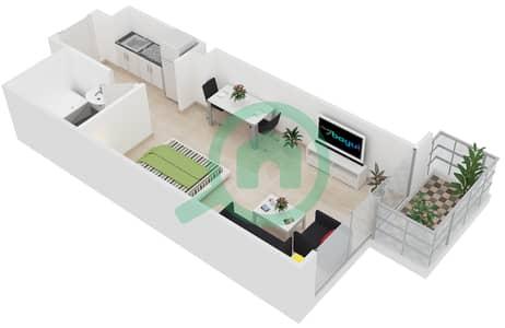 Al Manara Tower - Studio Apartment Unit 3 FLOOR 2-26 Floor plan