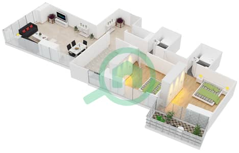 Al Manara Tower - 2 Bedroom Apartment Unit 7 FLOOR 2-26 Floor plan