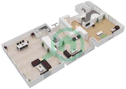 المخططات الطابقية لتصميم النموذج 5 شقة 1 غرفة نوم - بالازو فيرساتشي