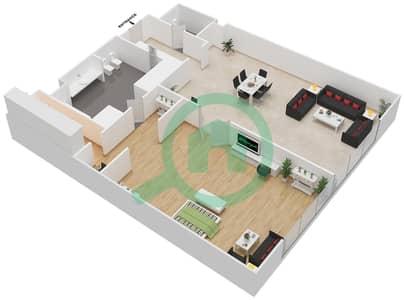 المخططات الطابقية لتصميم النموذج 4 شقة 1 غرفة نوم - بالازو فيرساتشي