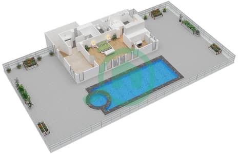 المخططات الطابقية لتصميم النموذج 2 شقة 1 غرفة نوم - بالازو فيرساتشي
