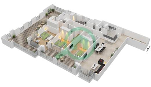 المخططات الطابقية لتصميم الوحدة 1-12 شقة 3 غرف نوم - منازل الخور