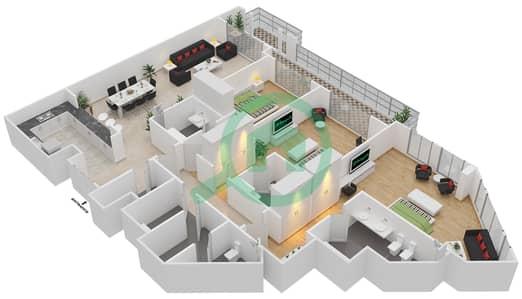 المخططات الطابقية لتصميم الوحدة 4-04 شقة 3 غرف نوم - منازل الخور