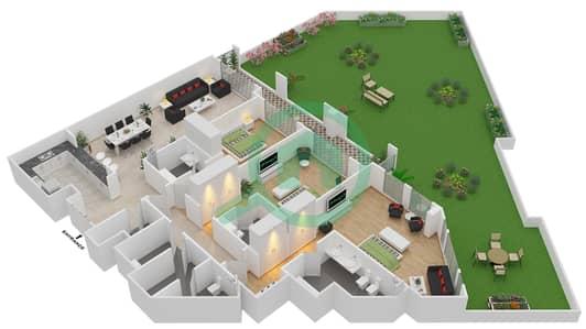 المخططات الطابقية لتصميم الوحدة G-04 شقة 3 غرف نوم - منازل الخور