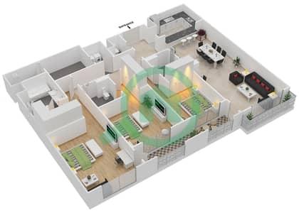 المخططات الطابقية لتصميم الوحدة 3-12 شقة 3 غرف نوم - منازل الخور