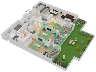 المخططات الطابقية لتصميم الوحدة G-06 شقة 3 غرف نوم - منازل الخور
