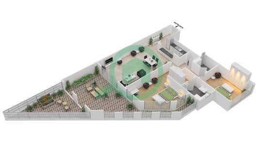 المخططات الطابقية لتصميم الوحدة G-23 شقة 2 غرفة نوم - منازل الخور
