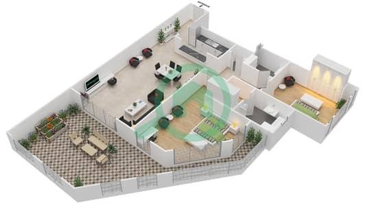 المخططات الطابقية لتصميم الوحدة 4-15 شقة 2 غرفة نوم - منازل الخور