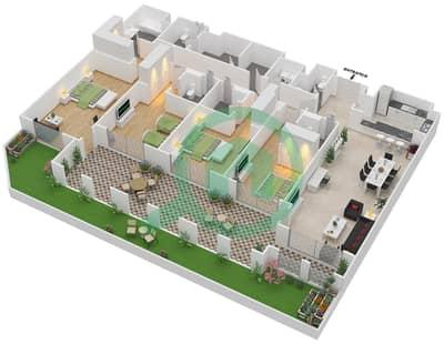 المخططات الطابقية لتصميم الوحدة G-21 شقة 4 غرف نوم - منازل الخور