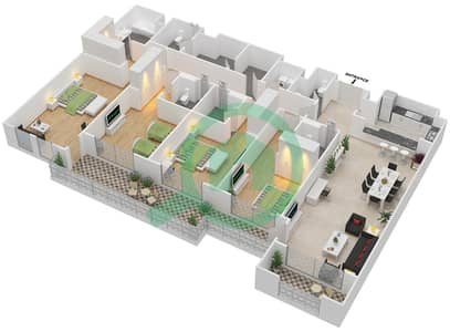 المخططات الطابقية لتصميم الوحدة 3-11 شقة 4 غرف نوم - منازل الخور