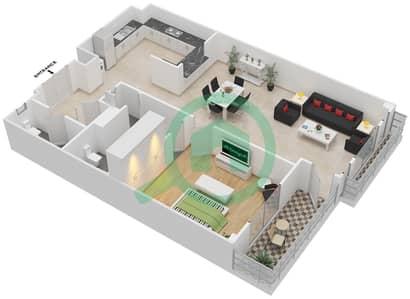 المخططات الطابقية لتصميم الوحدة 4-12 شقة 1 غرفة نوم - منازل الخور