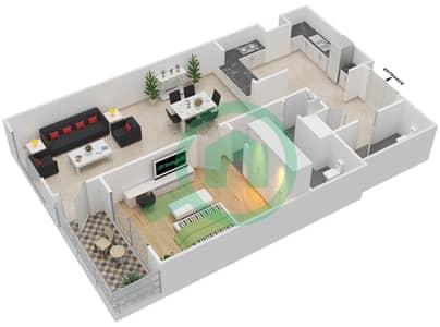 المخططات الطابقية لتصميم الوحدة 4-01 شقة 1 غرفة نوم - منازل الخور