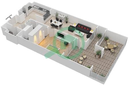 المخططات الطابقية لتصميم الوحدة G-24 شقة 1 غرفة نوم - منازل الخور