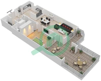 المخططات الطابقية لتصميم الوحدة G-02,G-07 شقة 1 غرفة نوم - منازل الخور