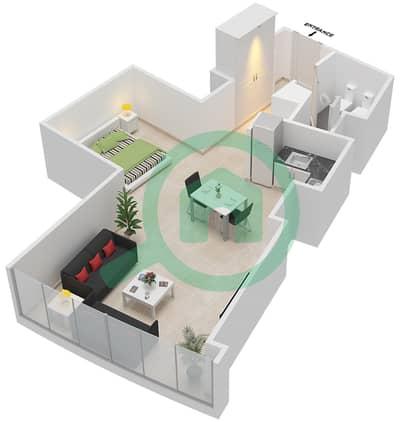 المخططات الطابقية لتصميم النموذج D شقة  - برج دي 1