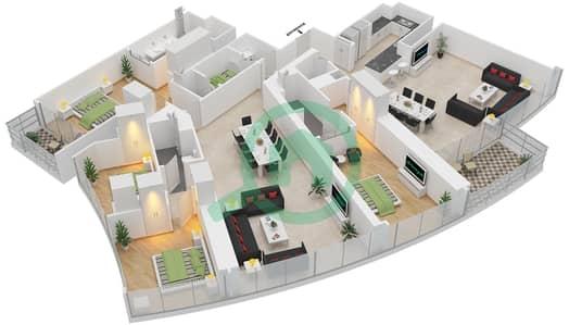 المخططات الطابقية لتصميم النموذج R8 شقة 4 غرف نوم - برج دي 1
