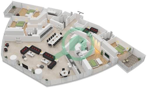 المخططات الطابقية لتصميم النموذج P شقة 4 غرف نوم - برج دي 1