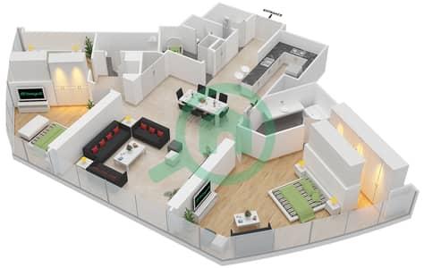 المخططات الطابقية لتصميم النموذج A شقة 3 غرف نوم - برج دي 1