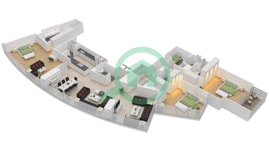 المخططات الطابقية لتصميم النموذج Q7 شقة 3 غرف نوم - برج دي 1