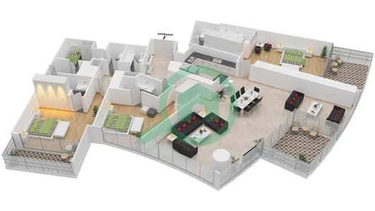 المخططات الطابقية لتصميم النموذج N2 شقة 3 غرف نوم - برج دي 1