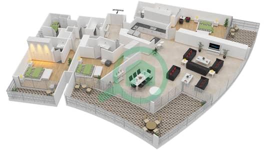 المخططات الطابقية لتصميم النموذج N شقة 3 غرف نوم - برج دي 1