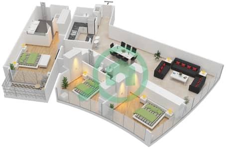 المخططات الطابقية لتصميم النموذج K شقة 3 غرف نوم - برج دي 1
