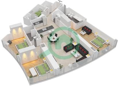 المخططات الطابقية لتصميم النموذج B شقة 3 غرف نوم - برج دي 1