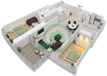 المخططات الطابقية لتصميم النموذج J شقة 2 غرفة نوم - برج دي 1