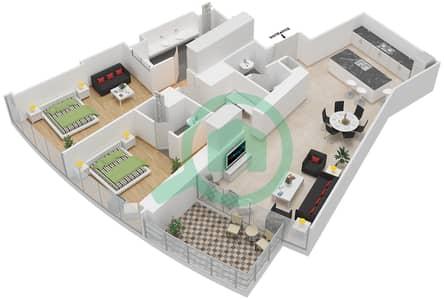المخططات الطابقية لتصميم النموذج H شقة 2 غرفة نوم - برج دي 1
