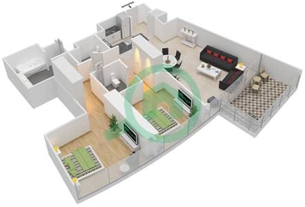 المخططات الطابقية لتصميم النموذج E شقة 2 غرفة نوم - برج دي 1