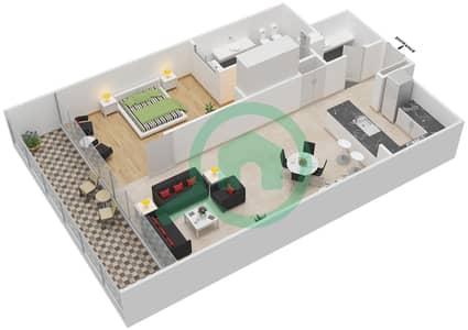 المخططات الطابقية لتصميم النموذج F شقة 1 غرفة نوم - برج دي 1