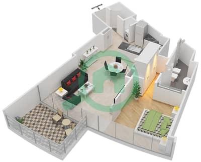المخططات الطابقية لتصميم النموذج C شقة 1 غرفة نوم - برج دي 1