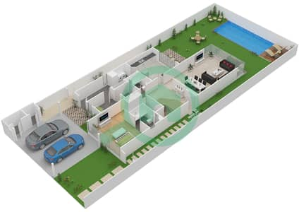 المخططات الطابقية لتصميم النموذج V-5 فیلا 5 غرف نوم - ذا فيلد