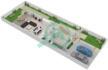 المخططات الطابقية لتصميم النموذج TH-K تاون هاوس 3 غرف نوم - ذا فيلد