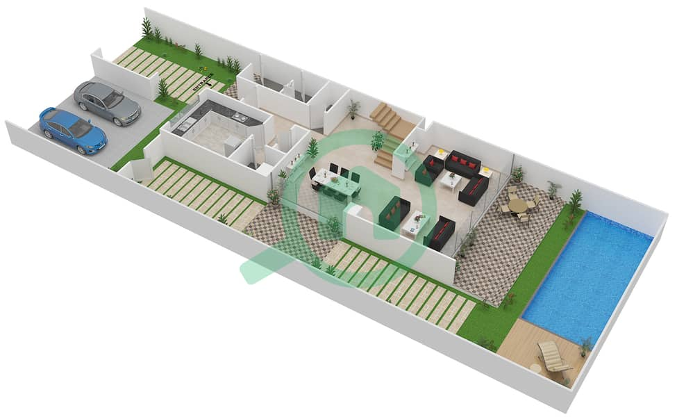 المخططات الطابقية لتصميم النموذج L تاون هاوس 3 غرف نوم - روكوود Ground Floor image3D