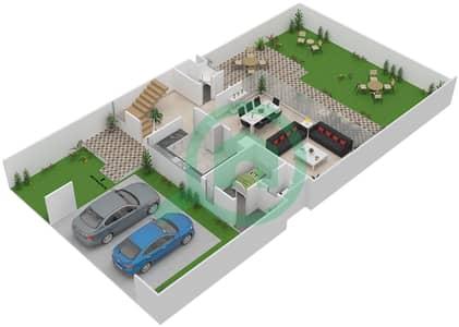 المخططات الطابقية لتصميم النموذج M1 فیلا 3 غرف نوم - روكوود
